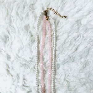 Forever 21 Jewelry - Forever 21 Pink & White Beaded Longline Necklace